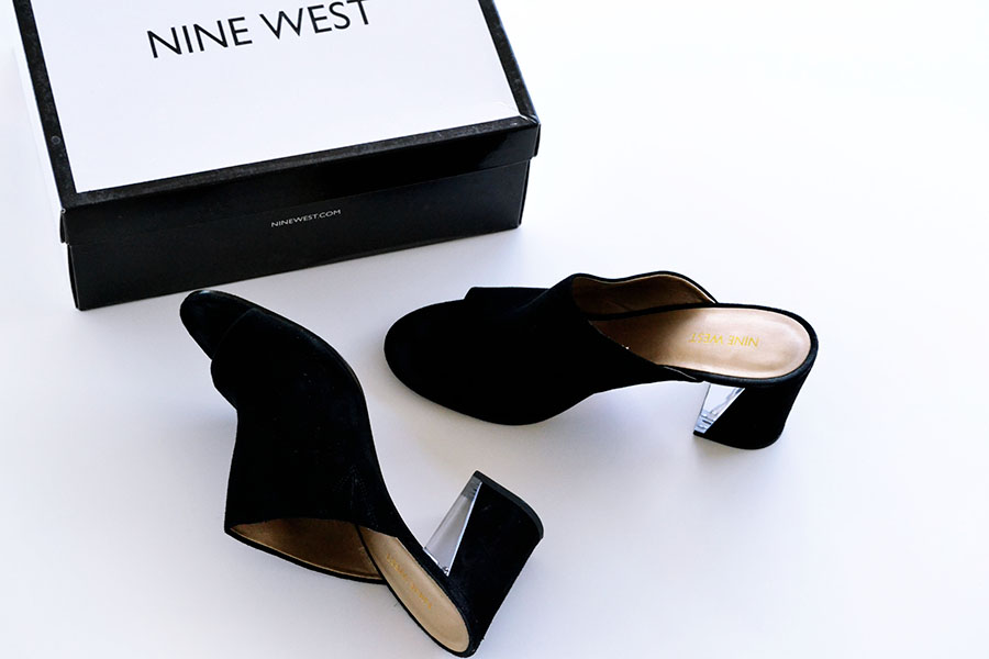 black mules with plexi glass heel
